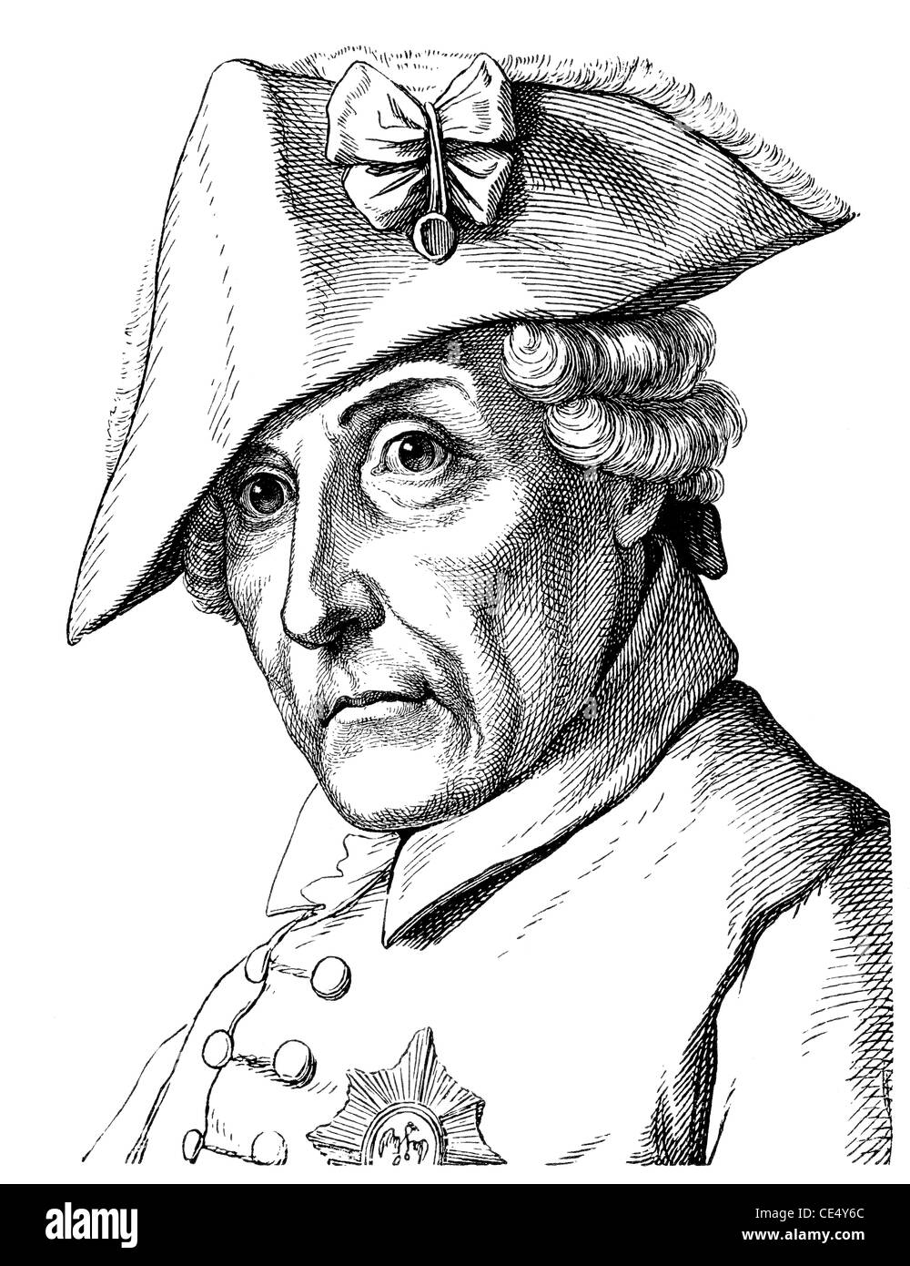 Frederick II or Frederick the Great or Alter Fritz, 1712 - 1786, King of Prussia and Elector of Brandenburg - Stock Image