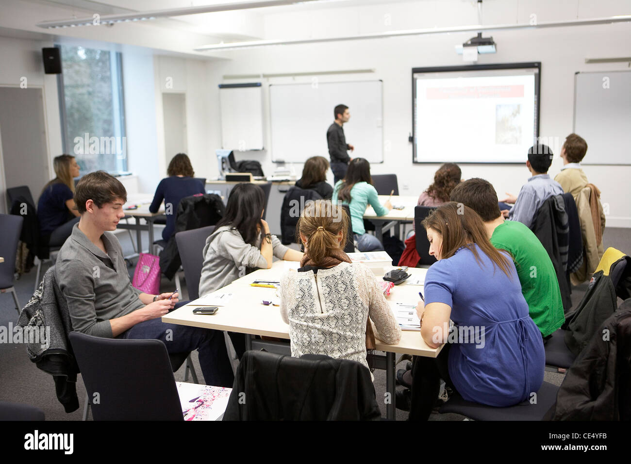University students at a lecture - Stock Image
