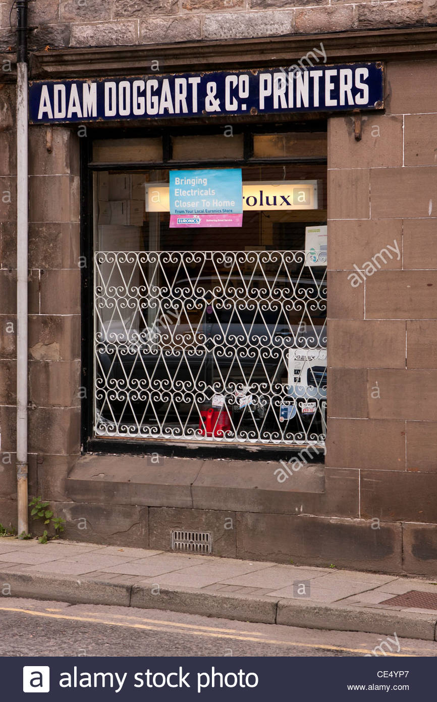 Print shop in Pitlochry , Perth and Kinross, with old Adam