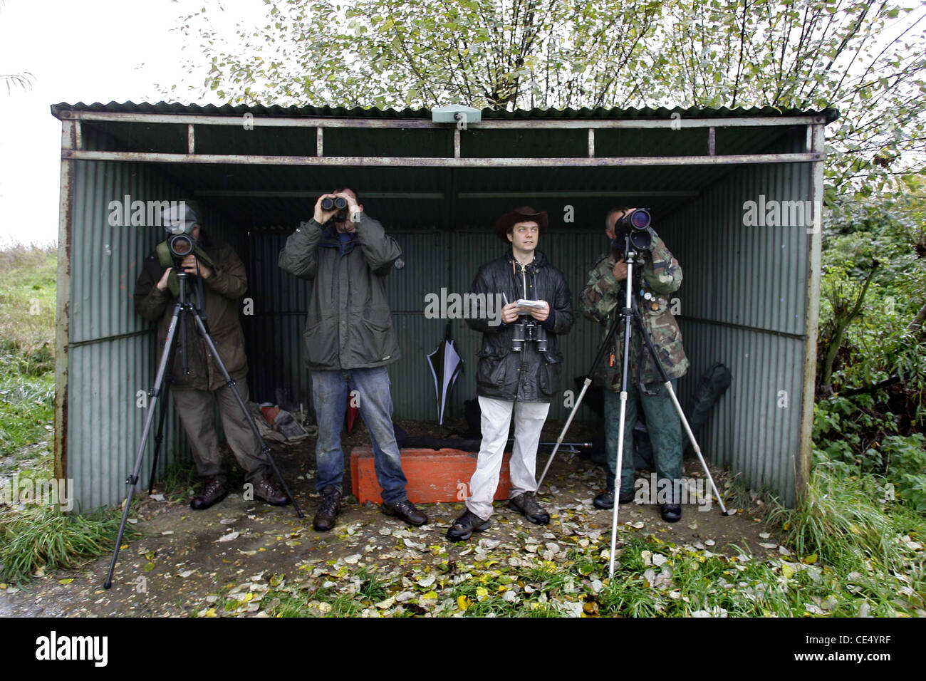 Bird watchers 'Birders' in a hide. - Stock Image