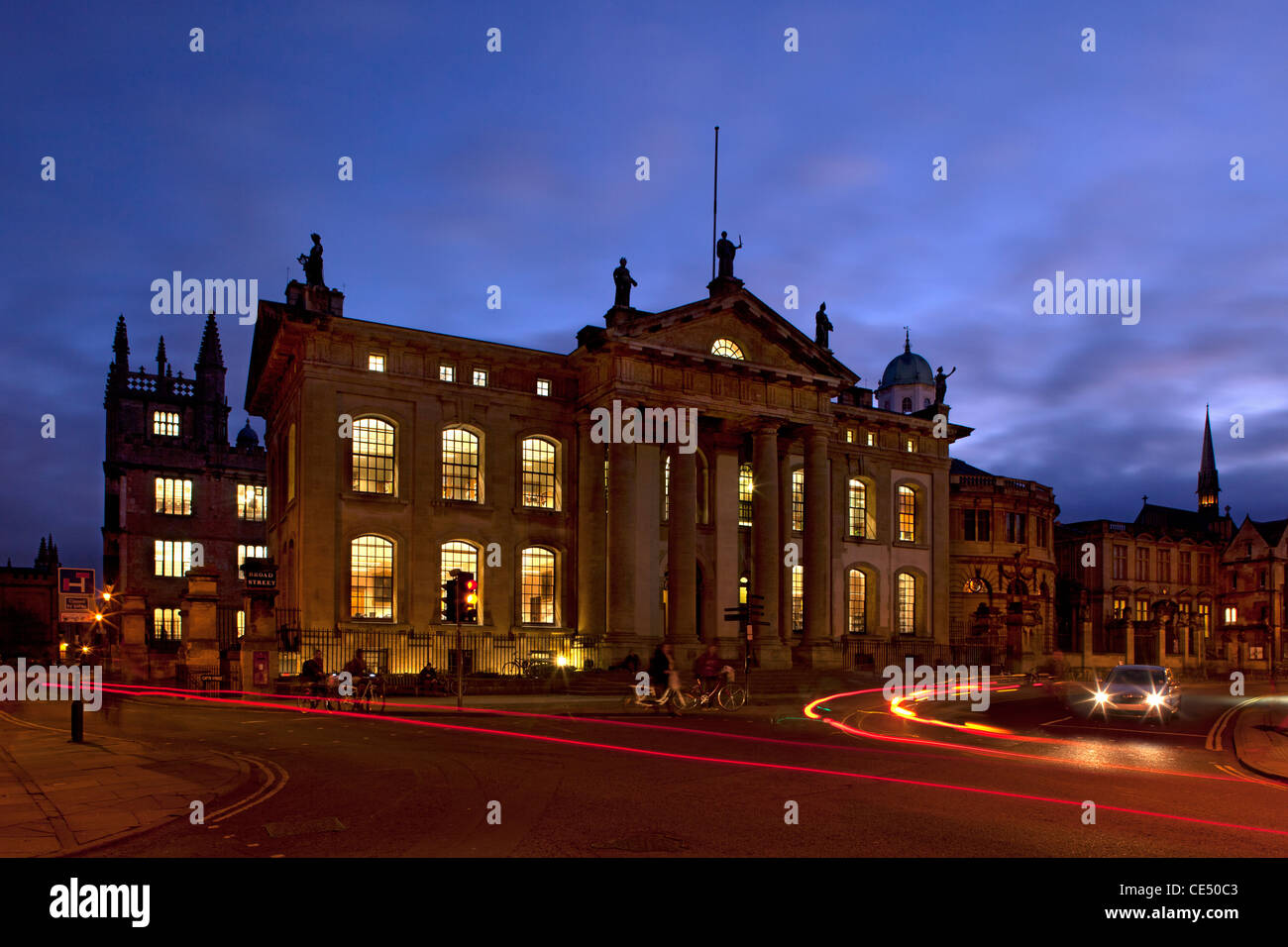 Clarendon Building at night, Broad Street, Oxford, Oxforshire, england - Stock Image