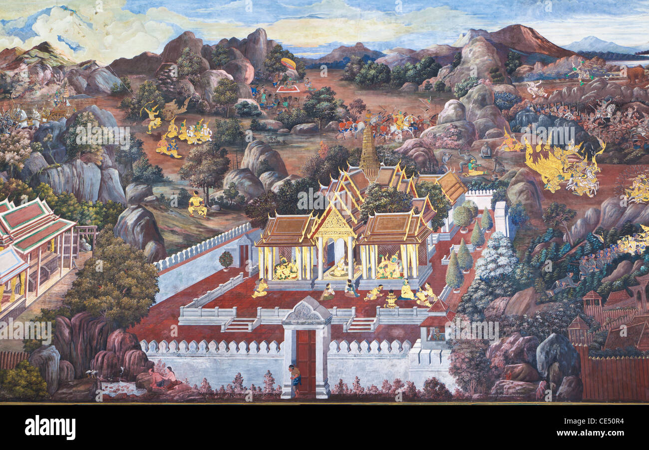 Murals depicting scenes from the Ramayana at Wat Phra Kaeo, the Royal Grand Palace, Bangkok,Thailand - Stock Image