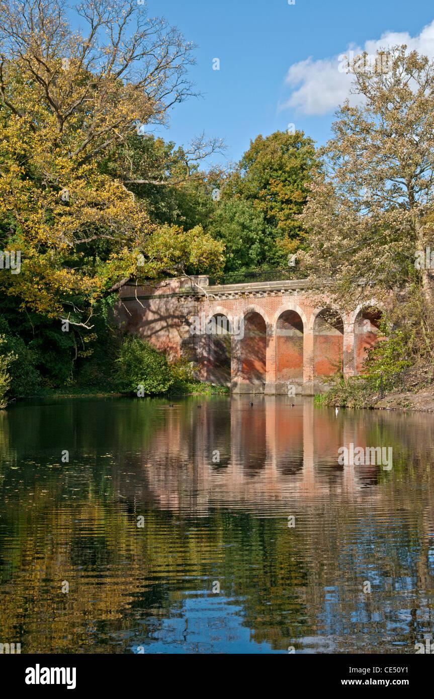 London, Hampstead Heath, viaduct pond in autumn. - Stock Image