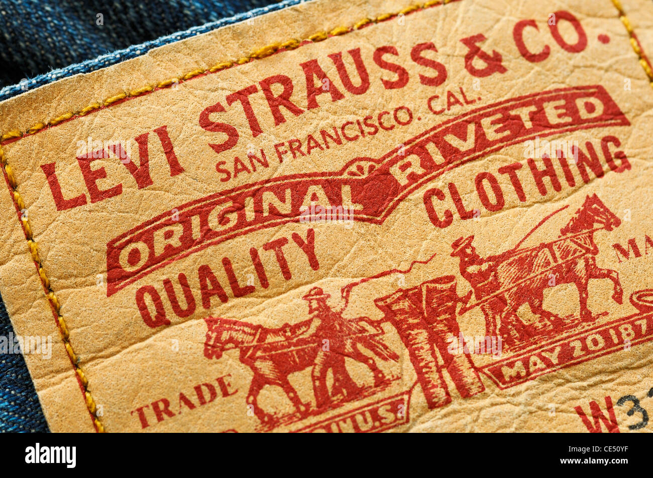 Levi Stauss & Co jeans label - Stock Image