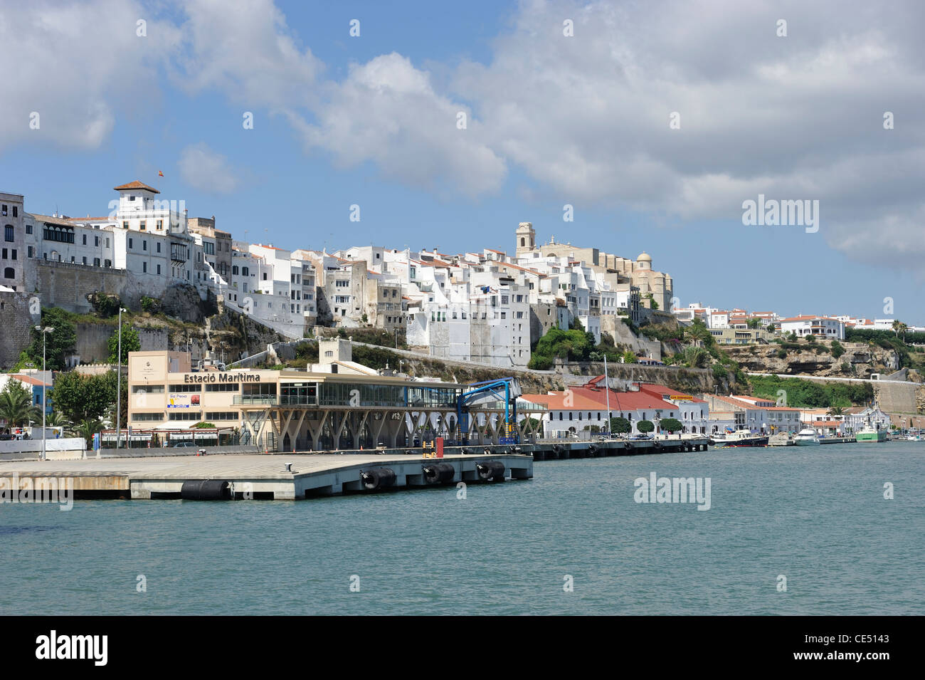 The Ferry Port by Old Town Mao Mahon Harbour Menorca Spain one of