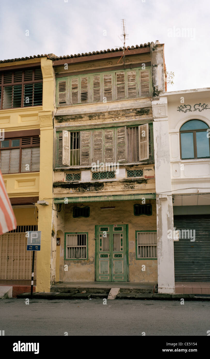 Traditional Peranakan Baba Nonya shophouse building architecture in George Town in Chinatown in Penang Island in - Stock Image