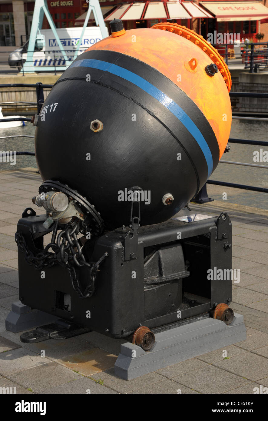 Naval sea mine Mk.17. This is an inert example on display at Gunwharf Quays, Portsmouth. Active mines would hold - Stock Image