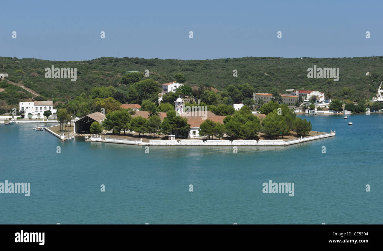 the base formerly british naval base mao mahon harbour menorca spain