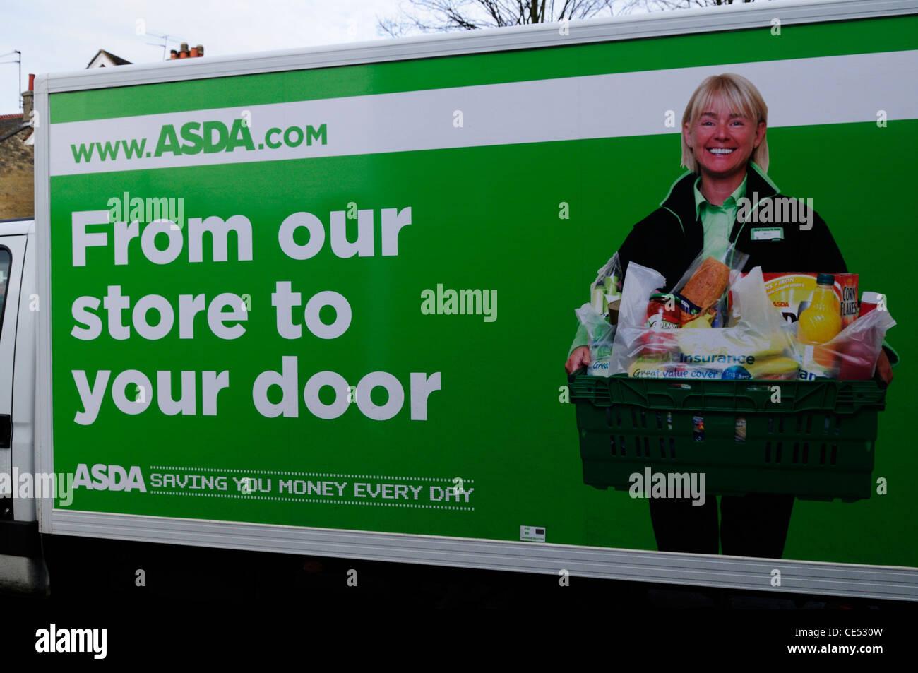 Asda Supermarket Shopping Home Delivery Van, Cambridge, England, UK - Stock Image