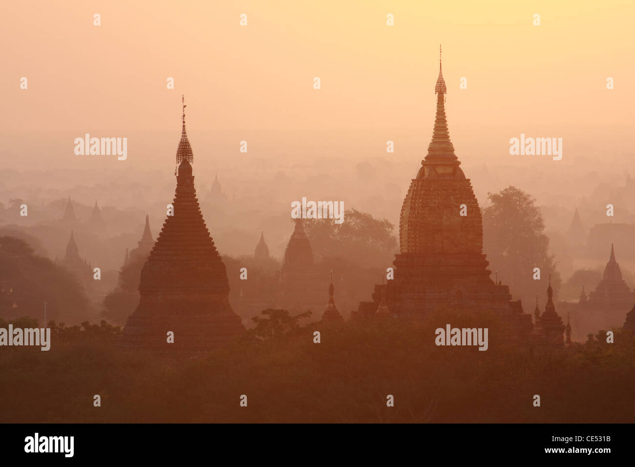 Pagodas , Bagan, Myanmar Stock Photo