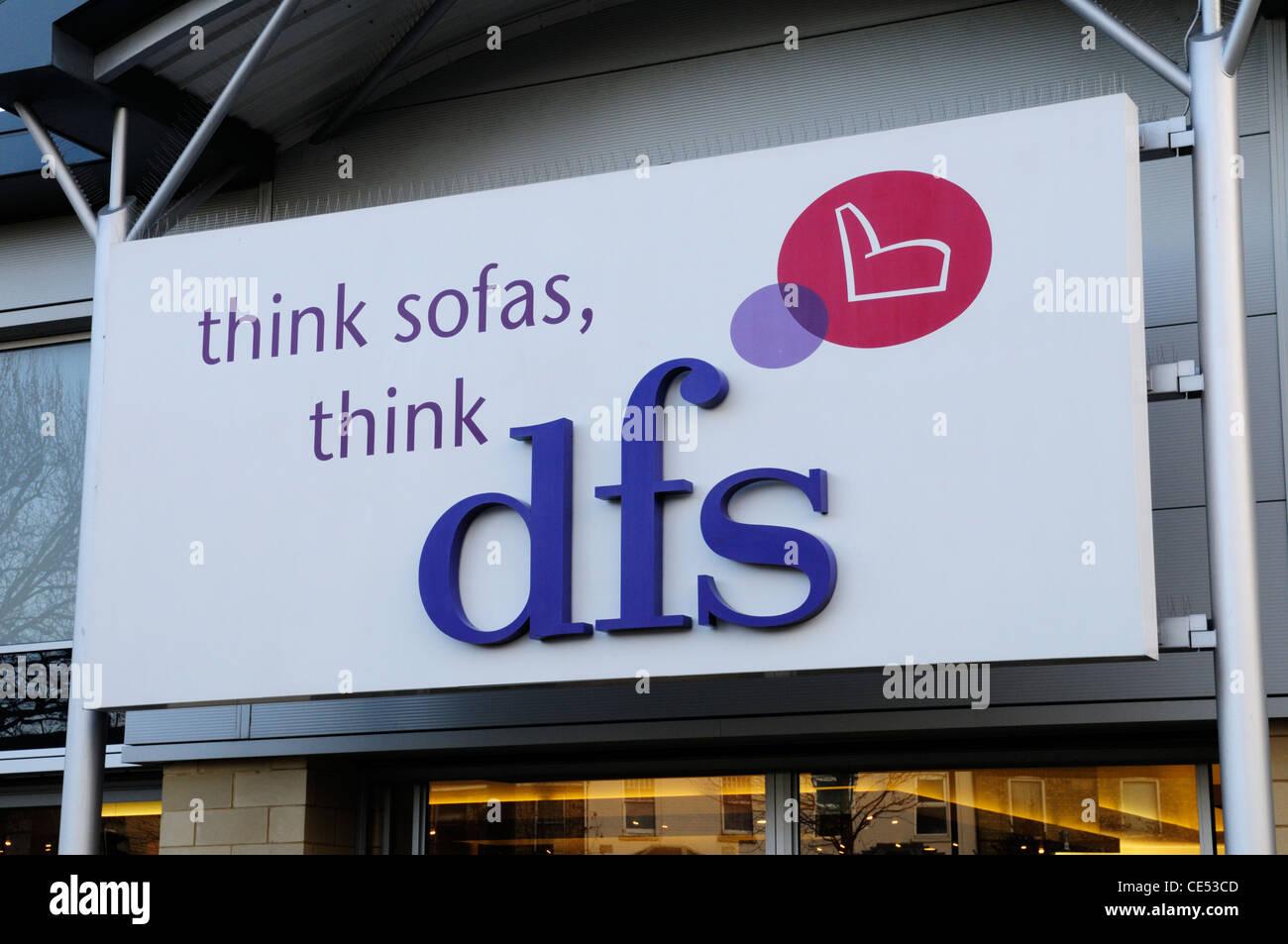 DFS Sofa Shop Sign, Cambridge, England,UK - Stock Image