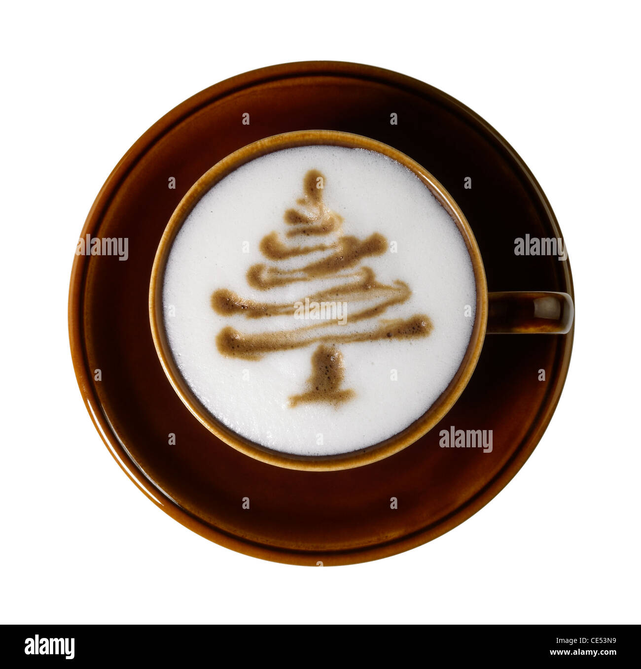 cup of coffee with marbled milk froth, isolated on white with clipping path, seen from above - Stock Image