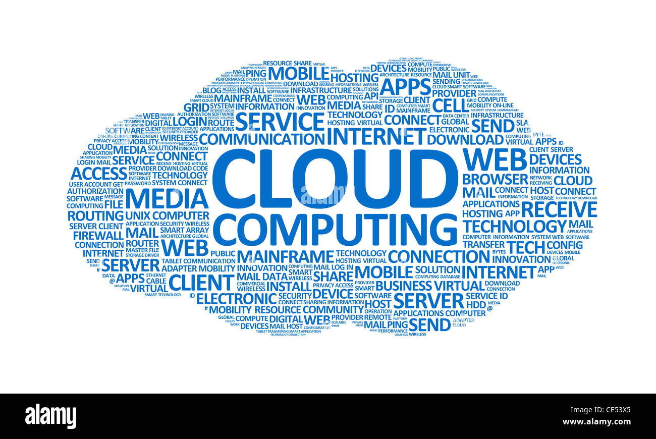 Word cloud conceptual illustration on cloud computing theme. Isolated on white. - Stock Image