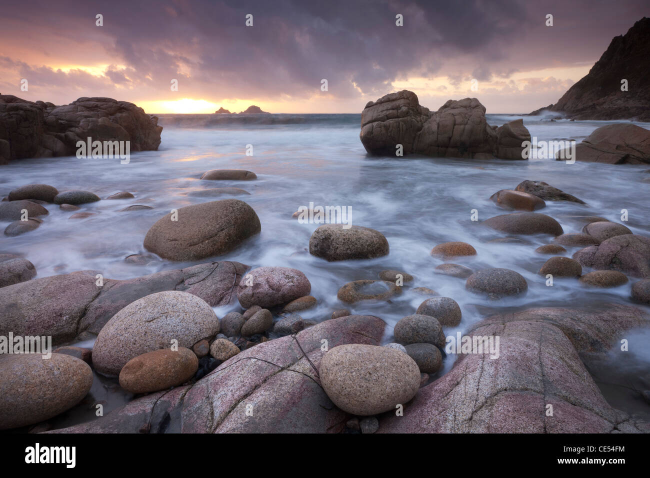 Sunset over The Brisons and Porth Nanven, West Cornwall, England. Autumn (September) 2011. - Stock Image