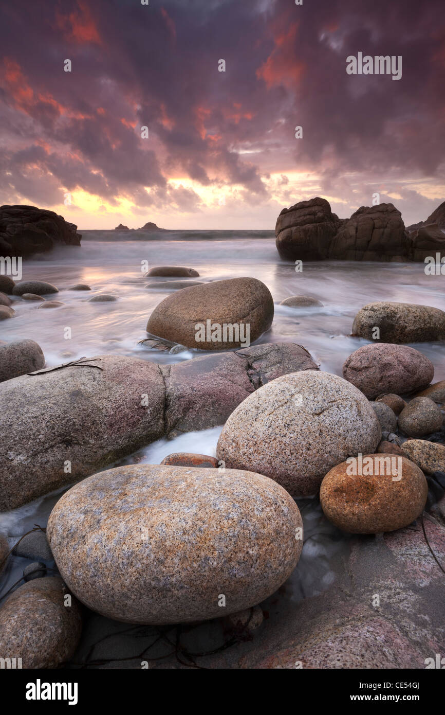 Sunset over the Atlantic from the shores of Porth Nanven, Cornwall, England. Autumn (September) 2011. - Stock Image