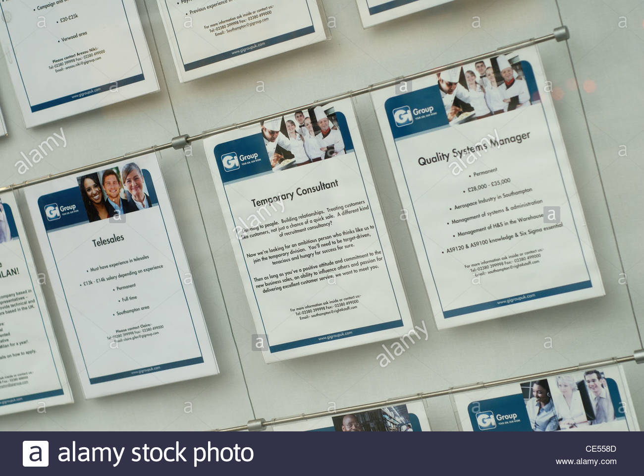 Southampton , UK Employment agency window with situations vacant - Stock Image