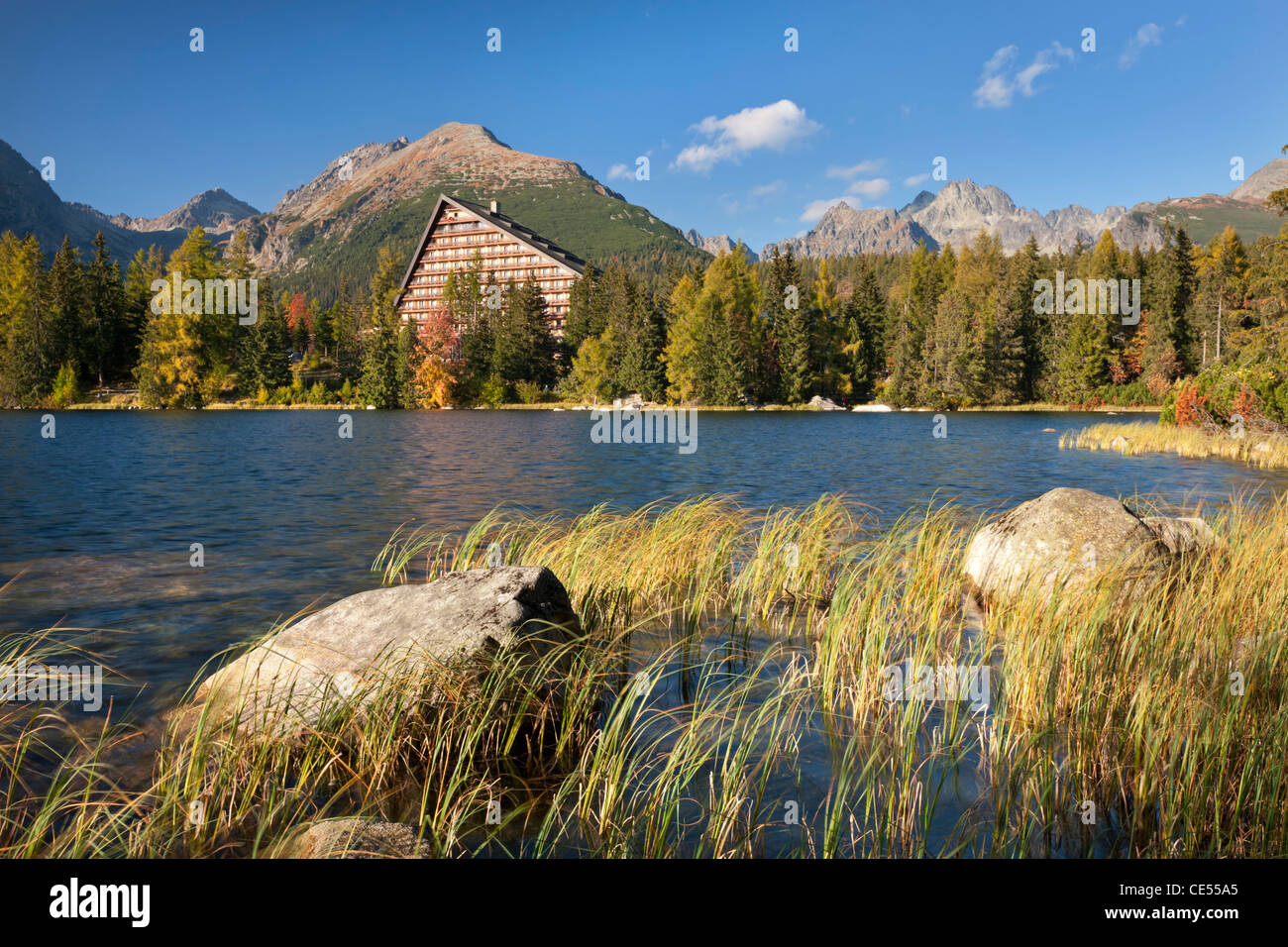 Hotel on Strbske Pleso Lake in the High Tatras, Slovakia, Europe. Autumn (October) 2011. - Stock Image