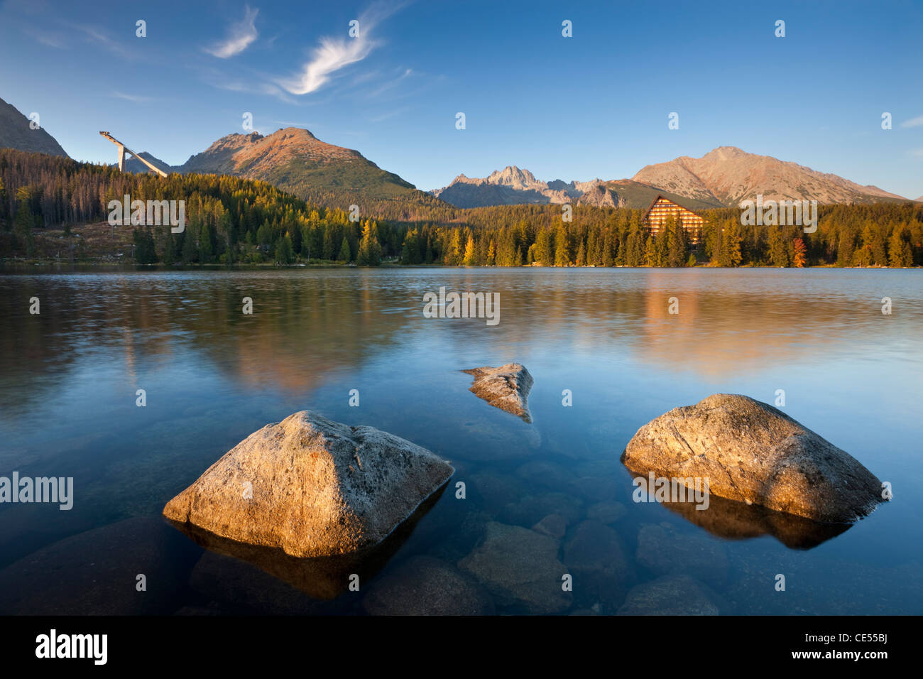 Strbske Pleso Lake, hotel and Ski Jump in the Tatra Mountains of Slovakia, Europe - Stock Image