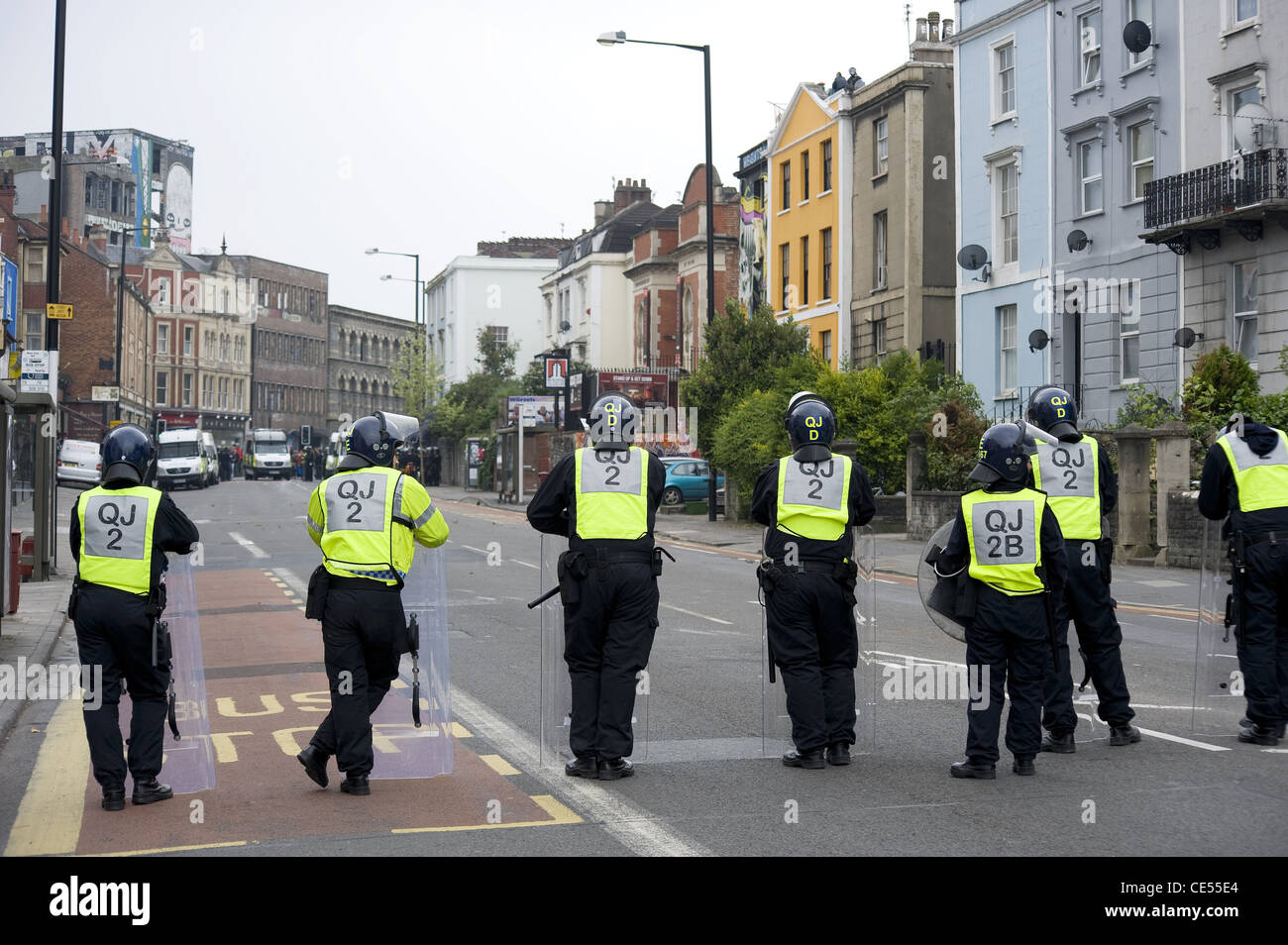 Riot police on Stokes Croft, Bristol - EDITORIAL USE ONLY - Stock Image