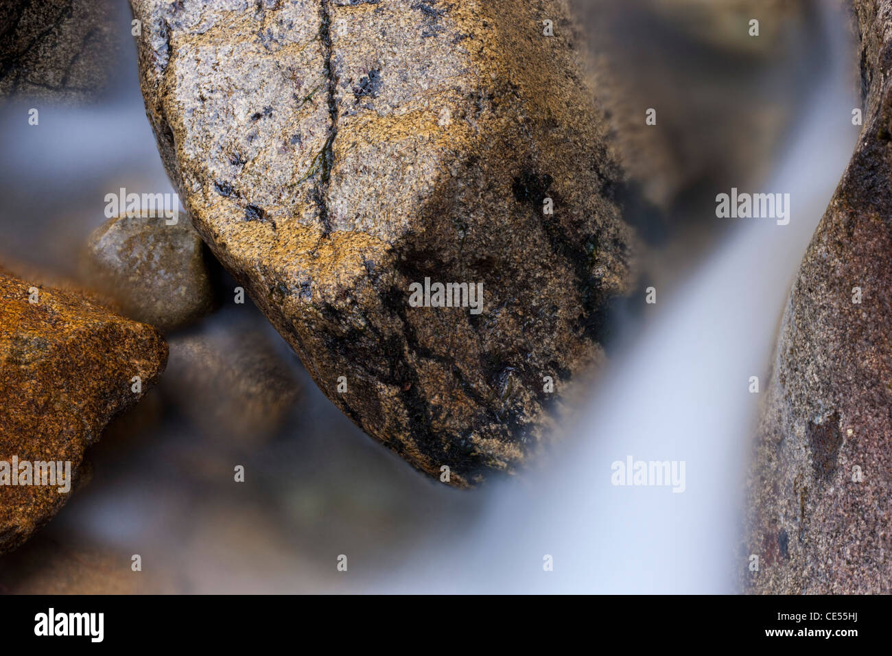 Close up of rocks and running water, Tatra Mountains, Slovakia, Europe. Autumn (October) 2011. - Stock Image