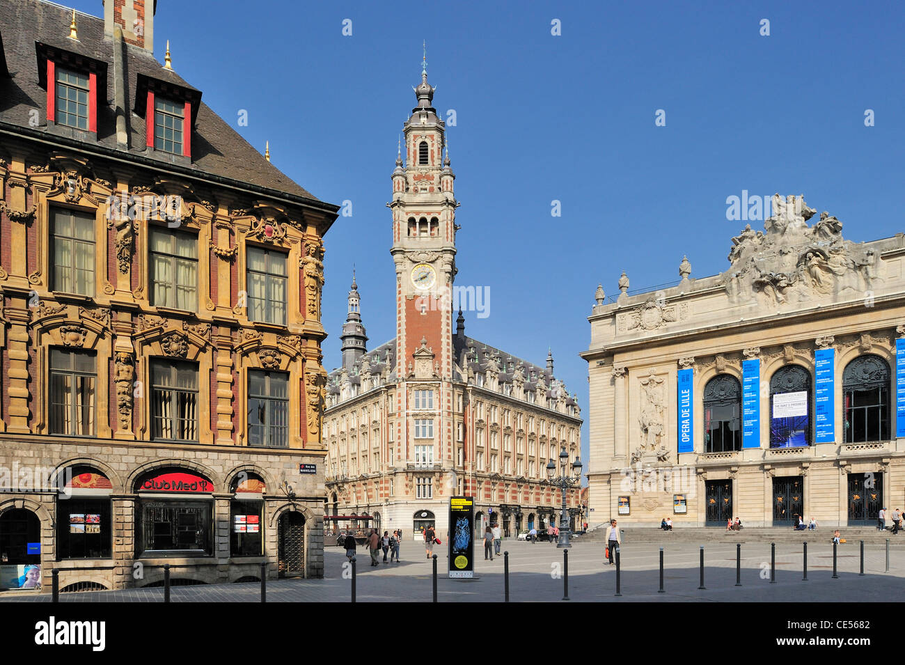 Bell tower of Chamber of Commerce and the Opéra de Lille at the Place du Théatre, Lille, France - Stock Image