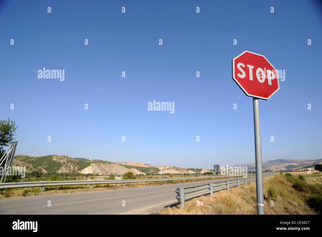 italy, basilicata, road stop sign - Stock Image