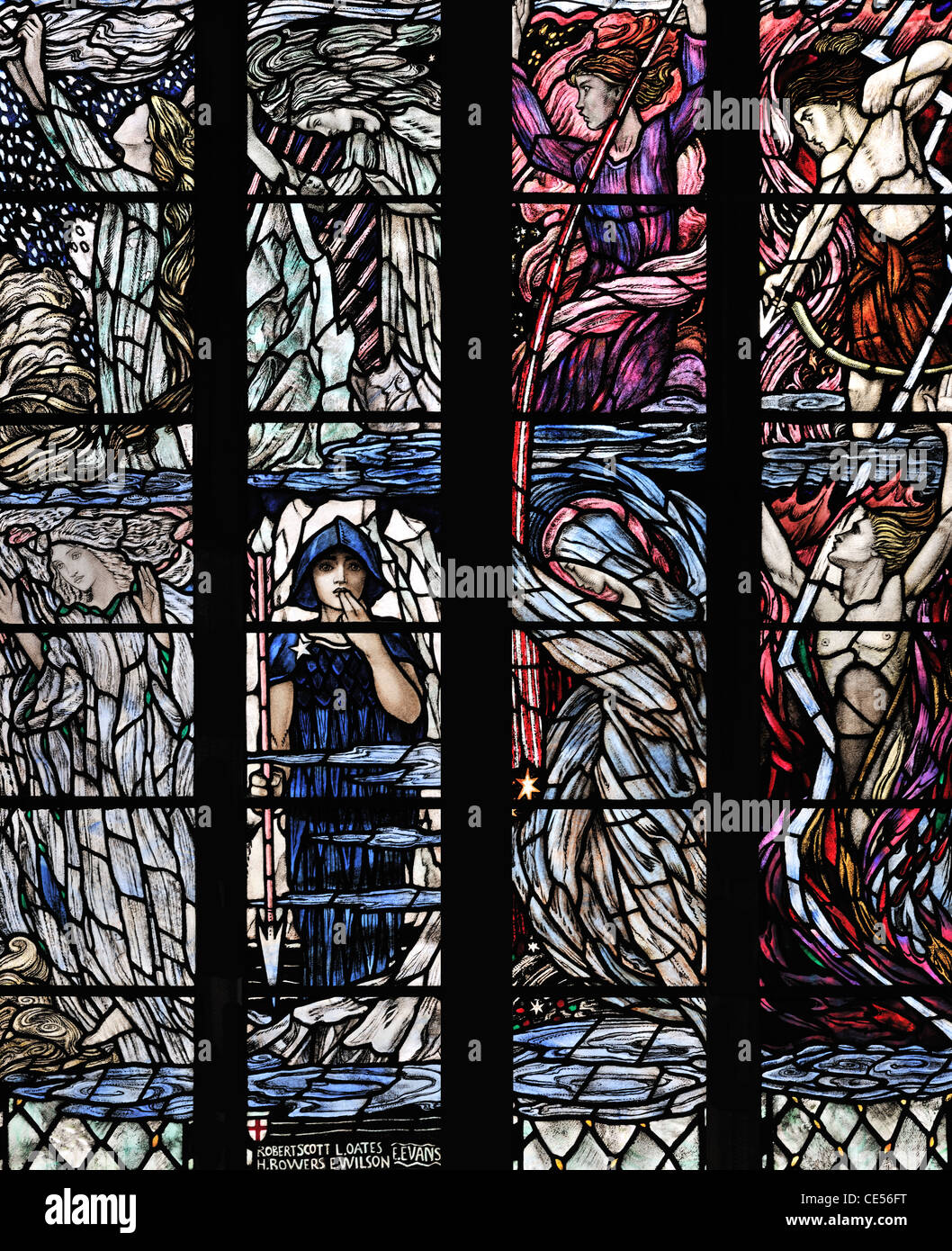 The Chaos window depicting fire storms cold and snow, Dunblane Cathedral, Scotland - Stock Image