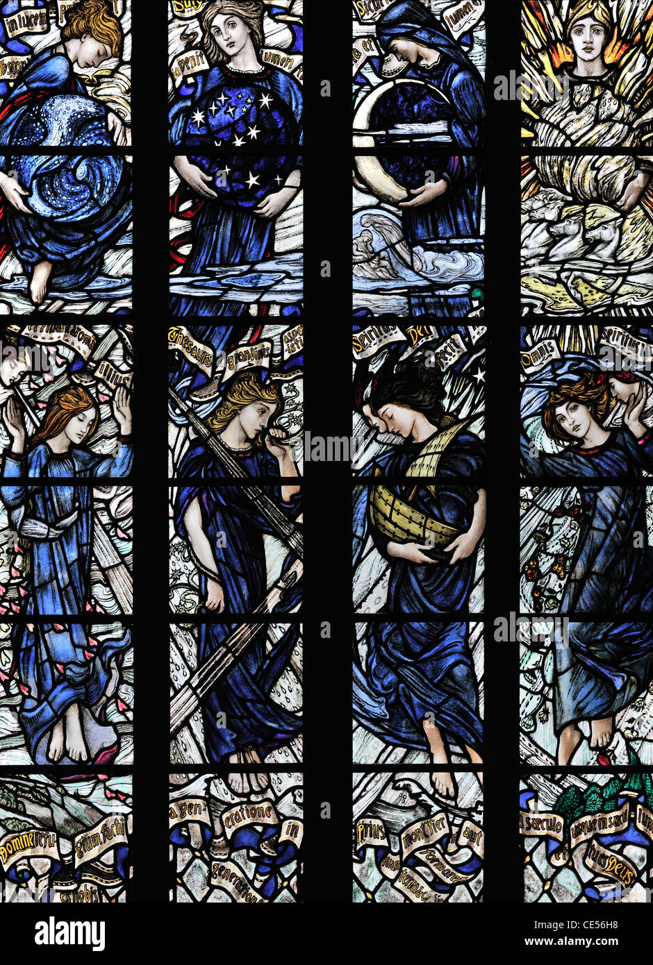 The Allegory window depicting the sun, moon, stars clouds and the four winds, Dunblane Cathedral, Scotland - Stock Image