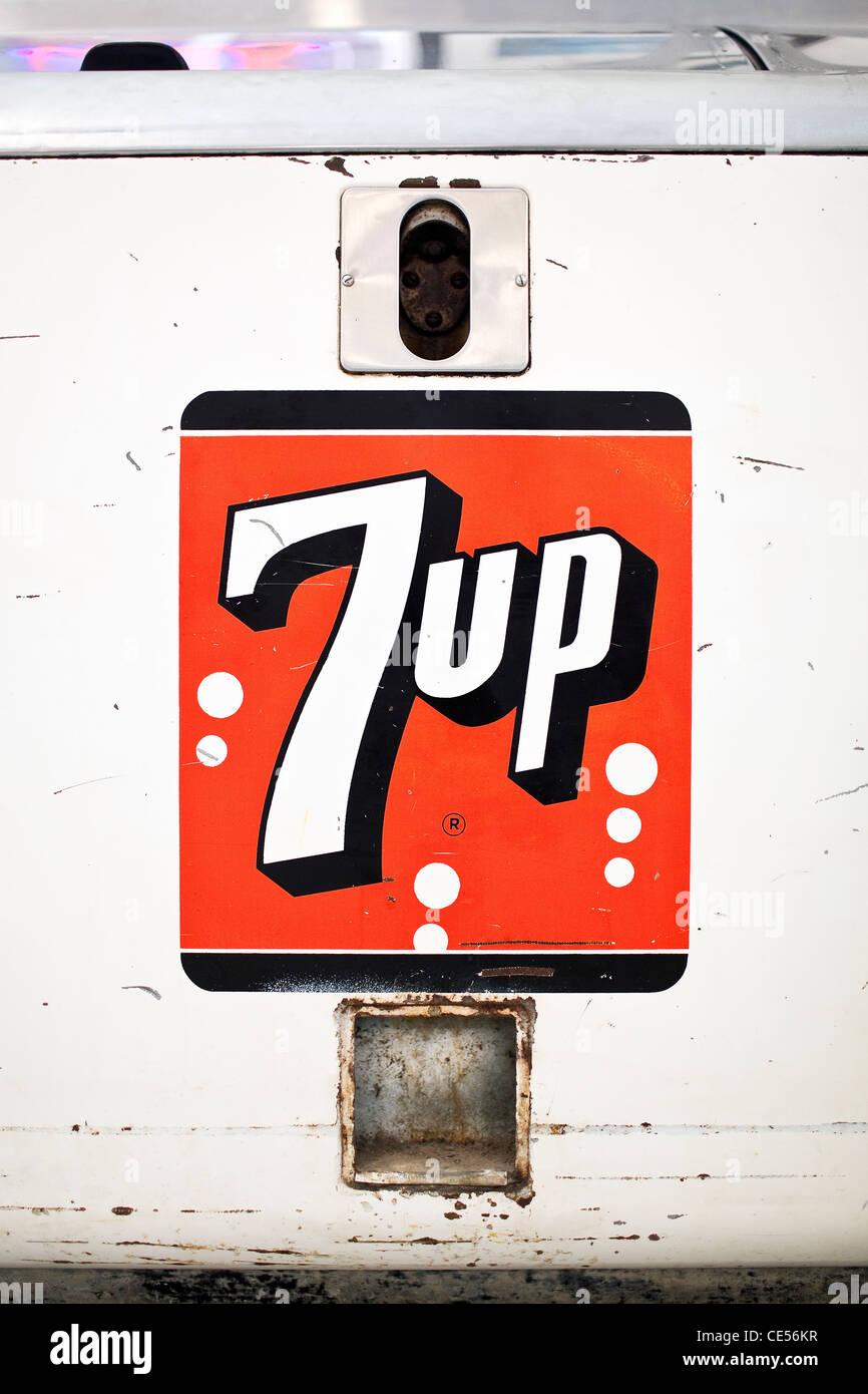 Vintage 7up drink cooler. - Stock Image