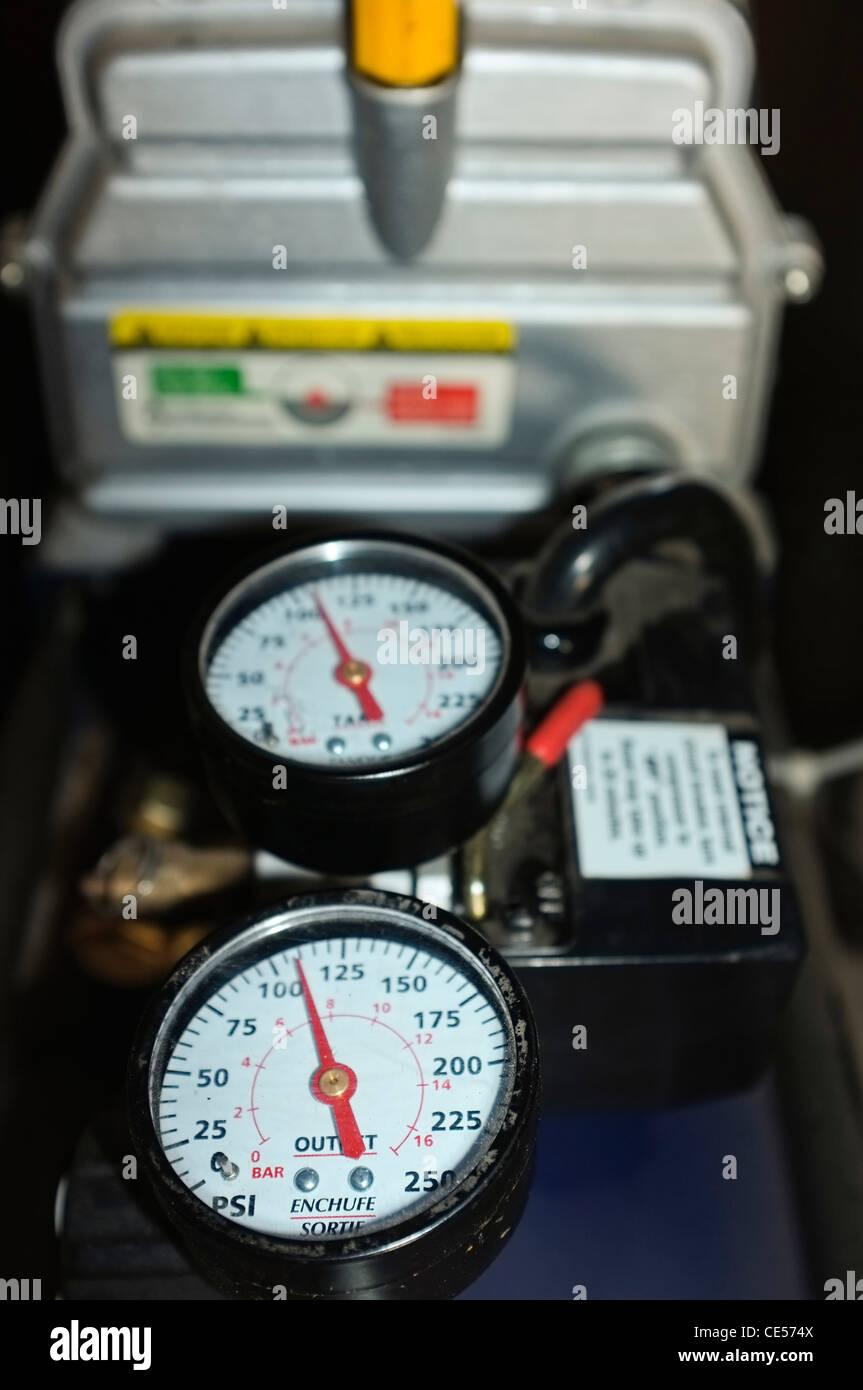 Manometer pressure gauges at compressor - Stock Image