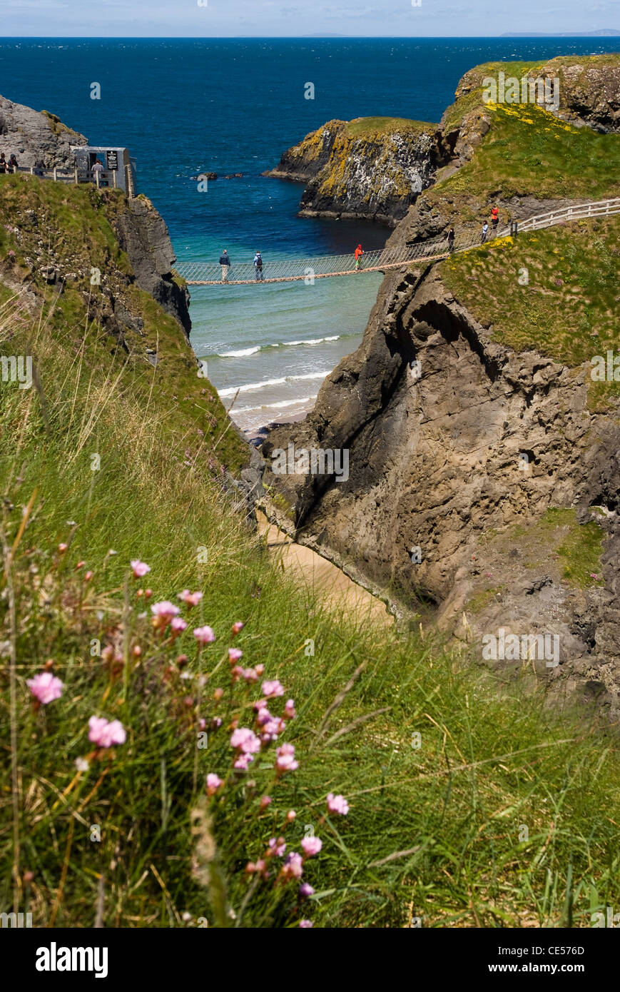 Carrick-a-Rede Rope Bridge, Co. Antrim, Northern Ireland - Stock Image