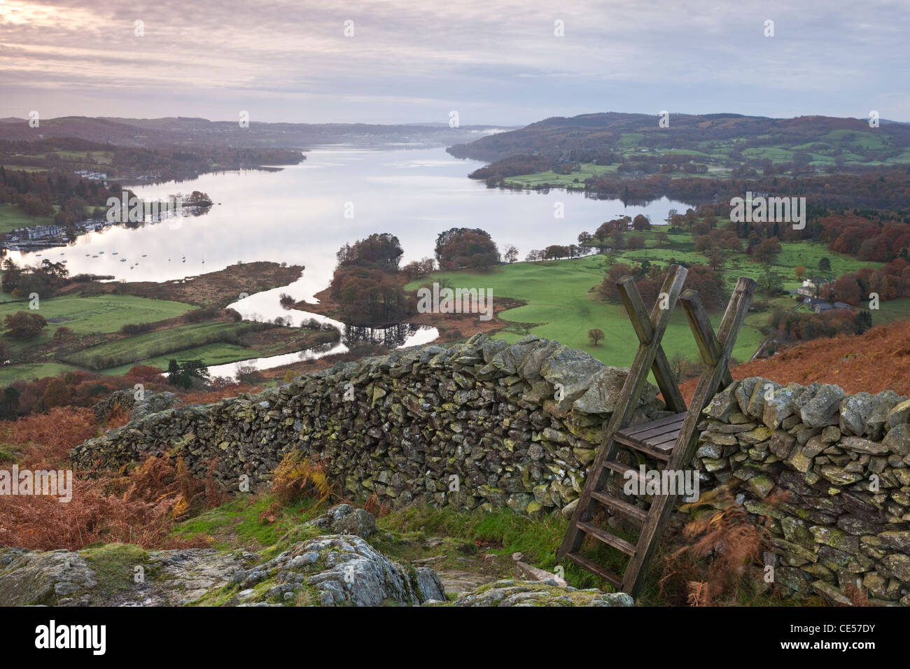 Dry stone wall and wooden stile above Lake Windermere, Lake District, Cumbria, England. Autumn (November) 2011. - Stock Image