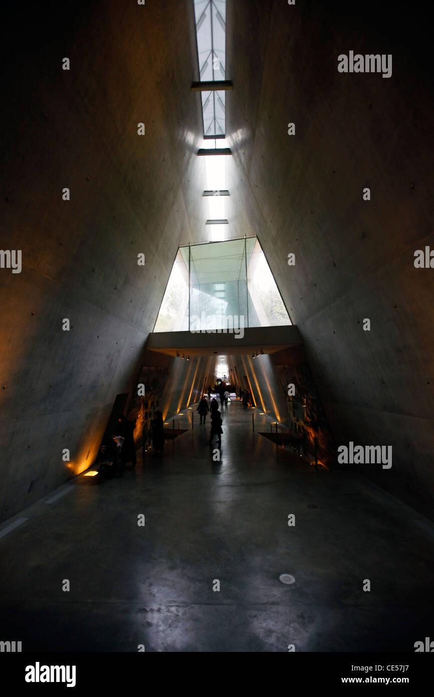 The corridor of Yad Vashem Holocaust History Museum in West Jerusalem Israel - Stock Image