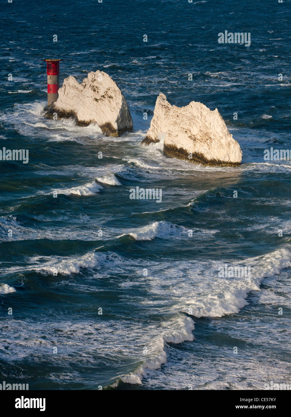 The Needles Lighthouse during Winter stormy weather, Isle of Wight, England. - Stock Image