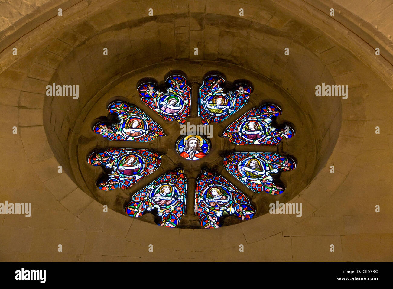 Circular Stained-glass Window In 1th-century Round Temple