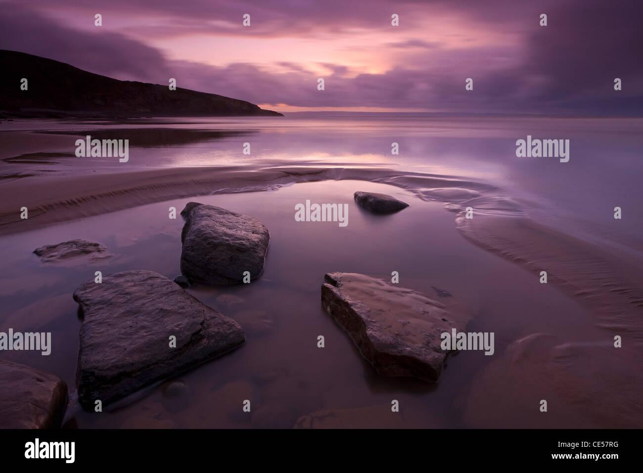 Twilight on Southerndown Beach, Glamorgan Heritage Coast, Wales, UK. Winter (December) 2011. - Stock Image
