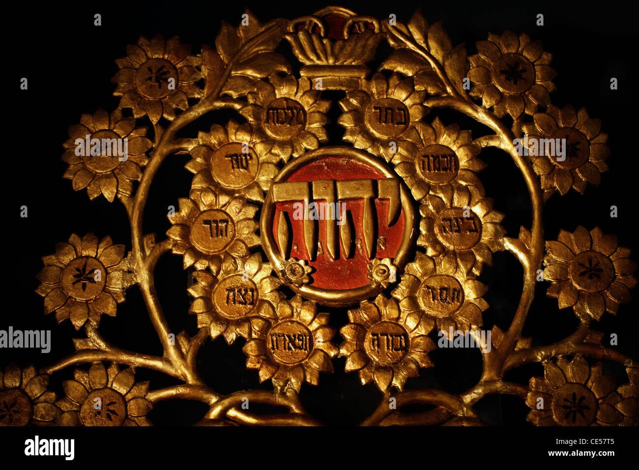 The name God in Hebrew decorates a Torah Ark closet which