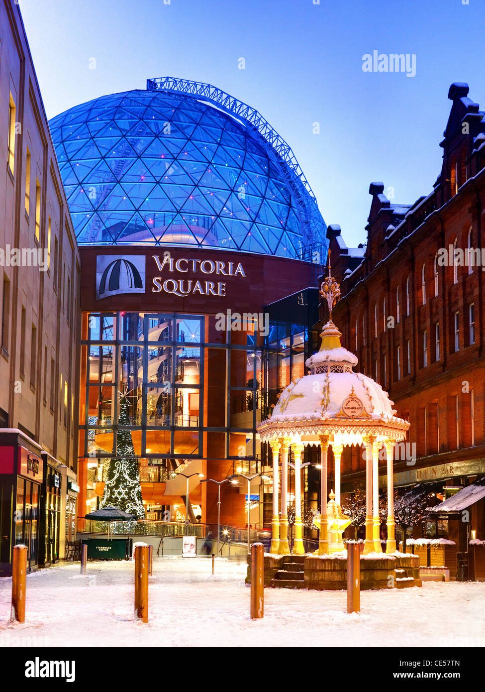 Victoria Square in the Snow, Belfast, Northern Ireland - Stock Image