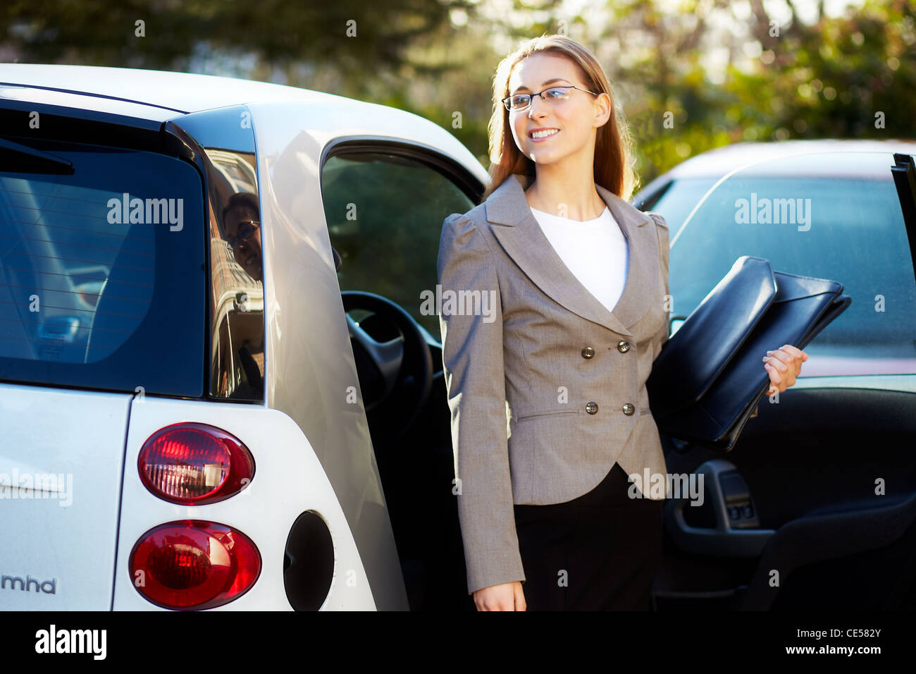 Girl going to work Stock Photo
