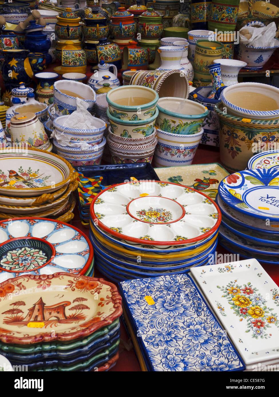 Hand-painted ceramic plates and bowls at El Rastro market Madrid Spain. & Hand-painted ceramic plates and bowls at El Rastro market Madrid ...