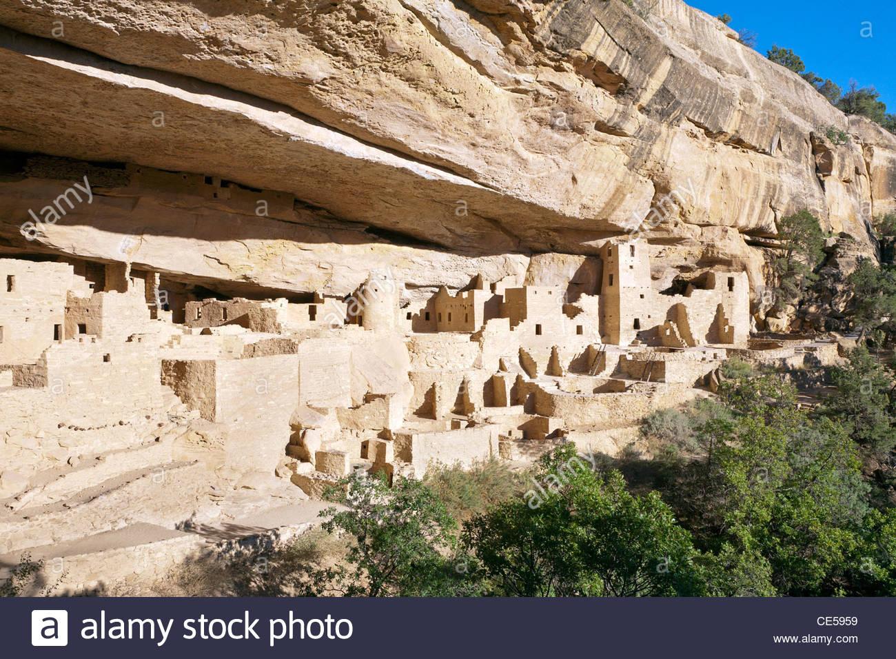 Cliff Palace Anasazi ruins, Mesa Verde National Park, Colorado, United States - Stock Image