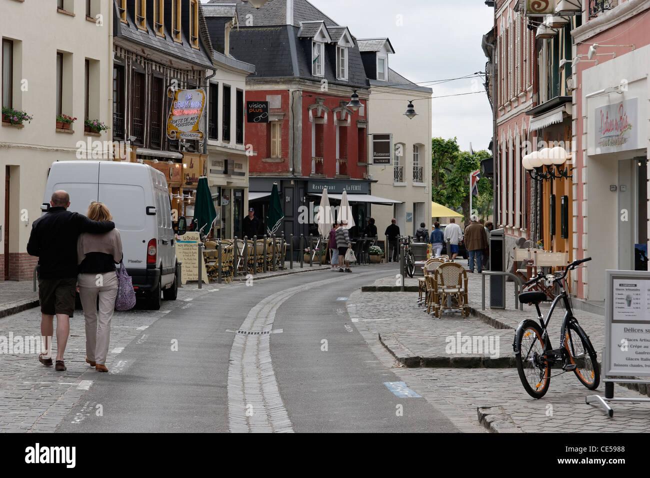 Rue de la Ferté in Saint-Valery-sur-Somme, Picardie - Stock Image