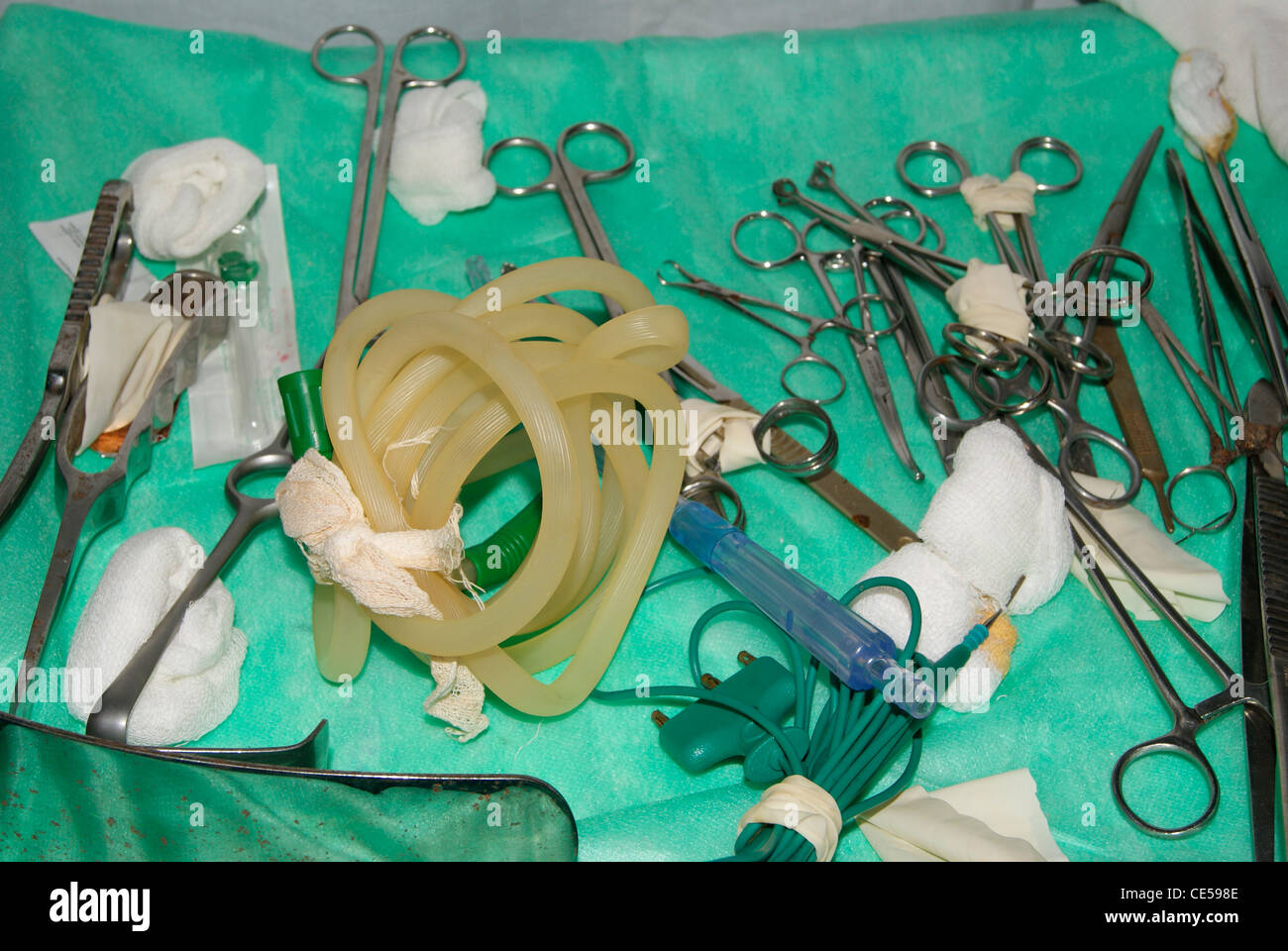Medical equipments including different types of scissors,medical tubes etc. - Stock Image