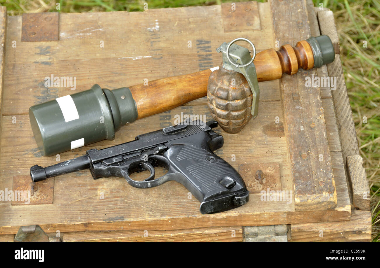 U. S. Army pistol and grenades, scene reconstruction, liberation of the town of Oisseau, World War II (Mayenne, - Stock Image