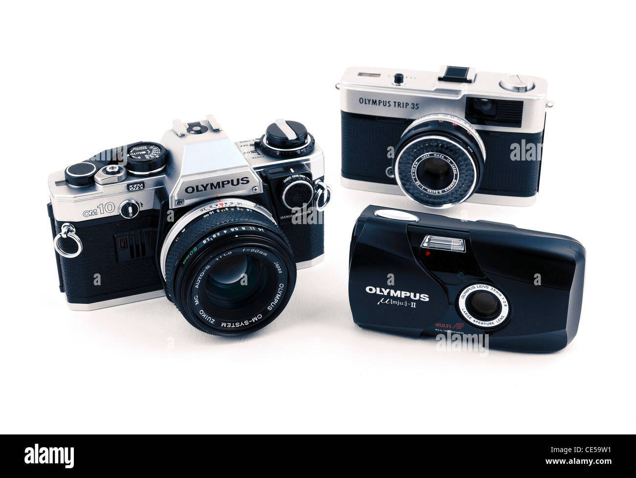A collection of old Olympus 35mm film cameras - Stock Image