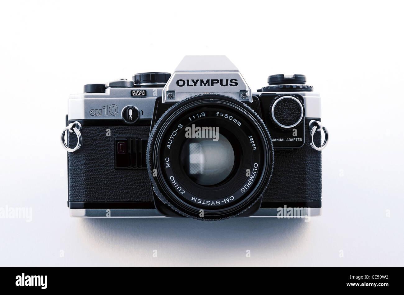 An Olympus OM10 35mm SLR film camera Stock Photo