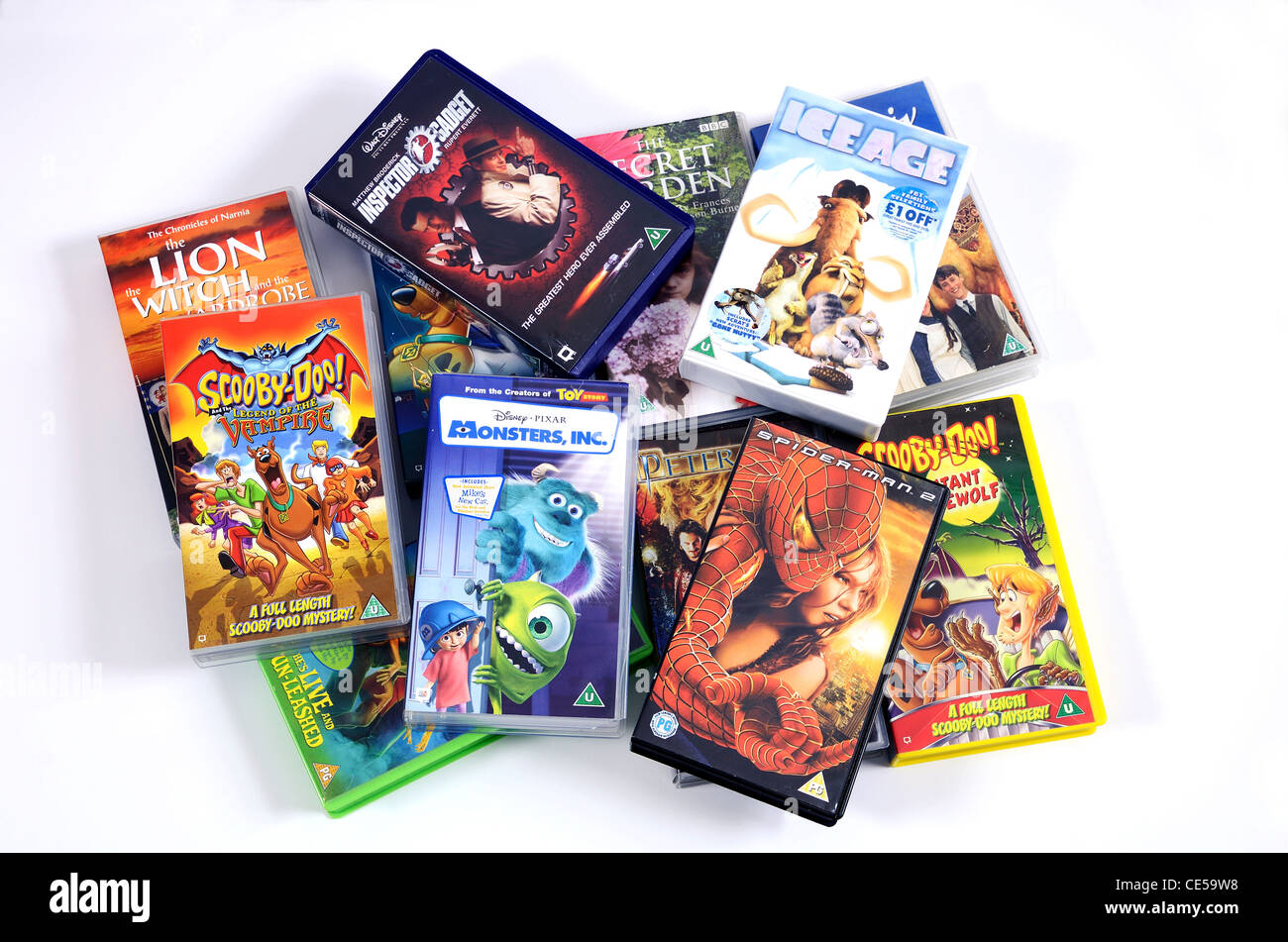 A selection of childrens films on video cassette - Stock Image