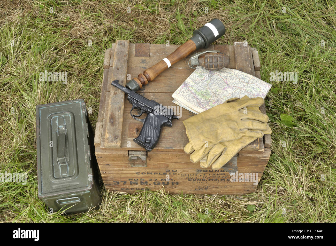 U.S. Army pistol and grenades, scene reconstruction,  liberation of the town of Oisseau, World War II (Mayenne, - Stock Image