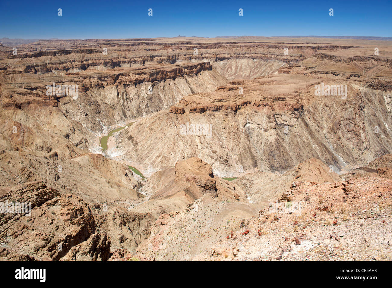 View across the Fish River Canyon in southern Namibia. - Stock Image