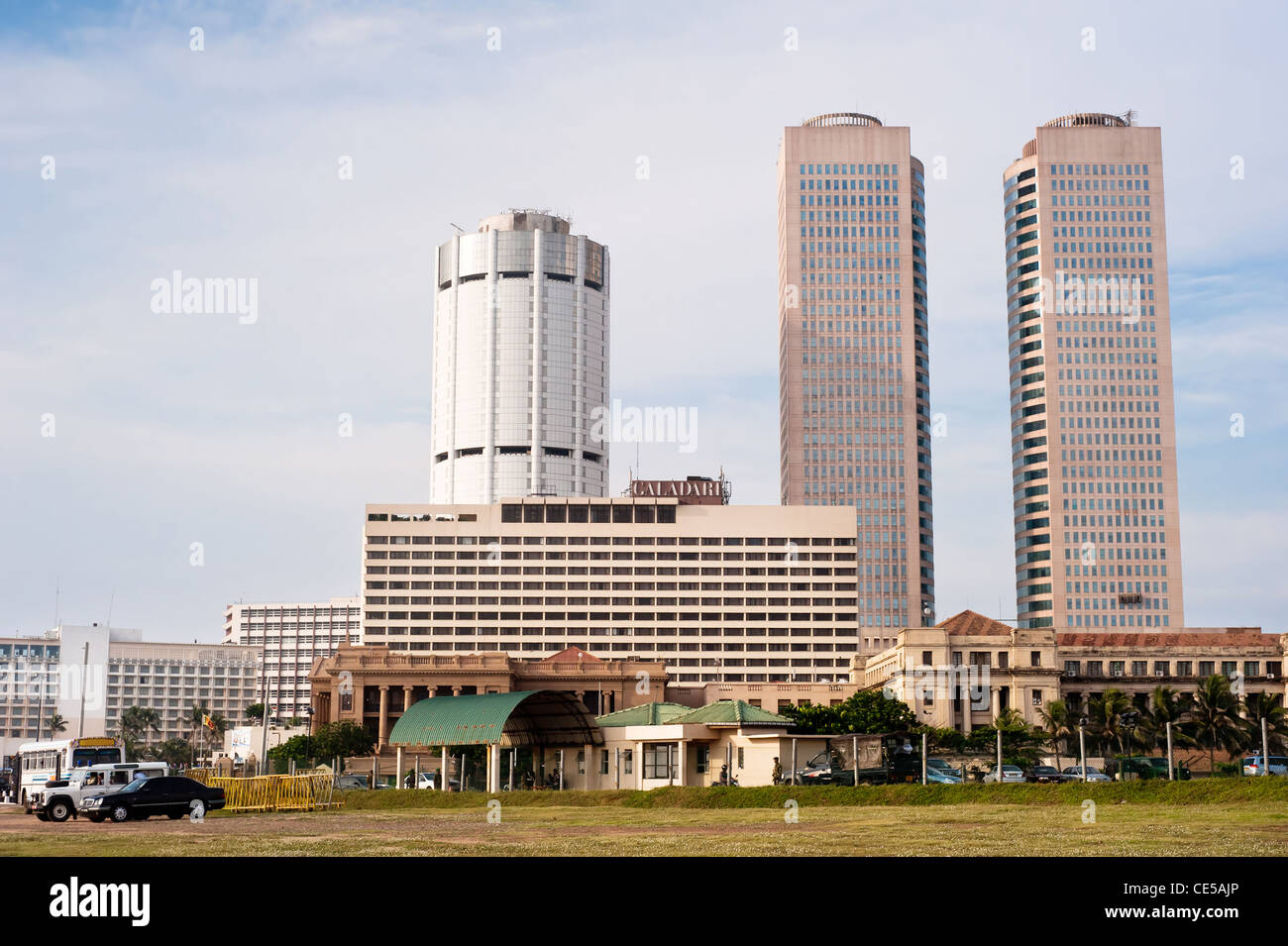 The twin towers of the World Trade Centre Colombo also known as WTC Colombo or WTCC is the tallest completed building. - Stock Image